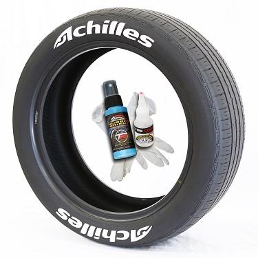 Tire Stickers ACHILLES-150-4-PM-1 Permanent Raised Rubber Lettering Achilles Logo - 4 of each -   14-21 - 1.5 - WHITE