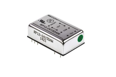 Recom RP12 AW 12W Isolated DC-DC Converter Through Hole, Voltage in 9 → 36 V dc, Voltage out ±15V dc