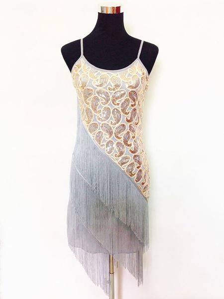 Milanoo Dance Costumes Latin Dancer Dresses Women Tassels Tiered Glitter Dancing Clothing Hallloween