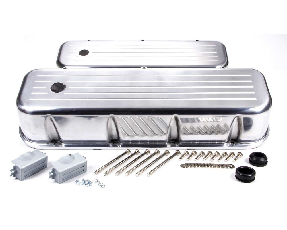 Racing Power Company R6330 Polished Aluminum Ball Milled Tall Valve Cover BB Chevrolet