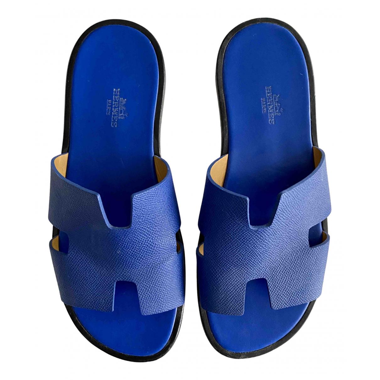 Hermès Izmir Blue Leather Sandals for Men 40 EU