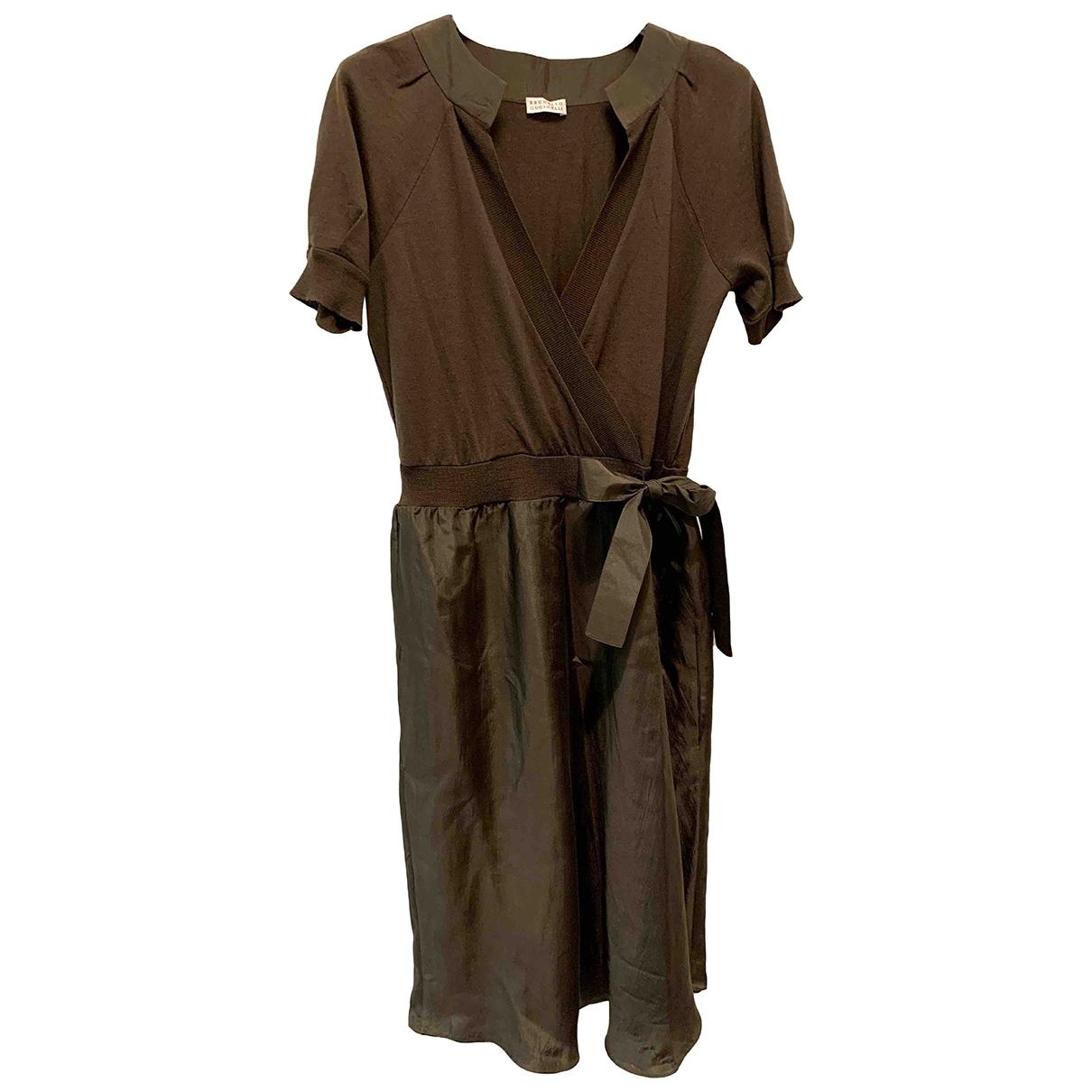 Brunello Cucinelli - Robe   pour femme en laine - marron