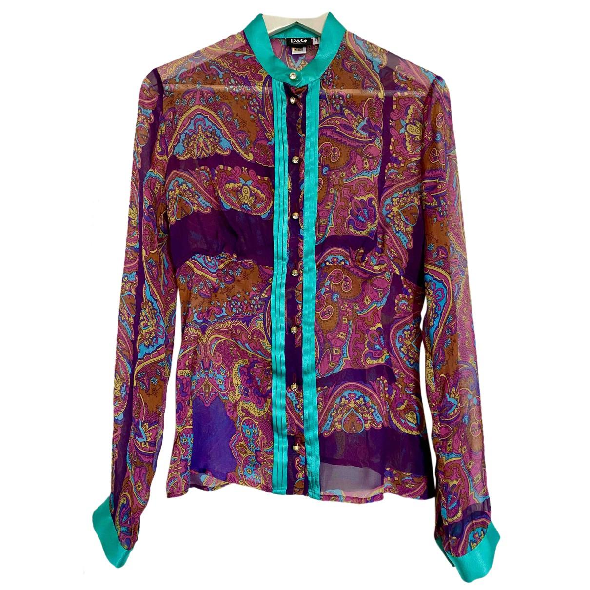 D&g N Purple Silk  top for Women 42 IT