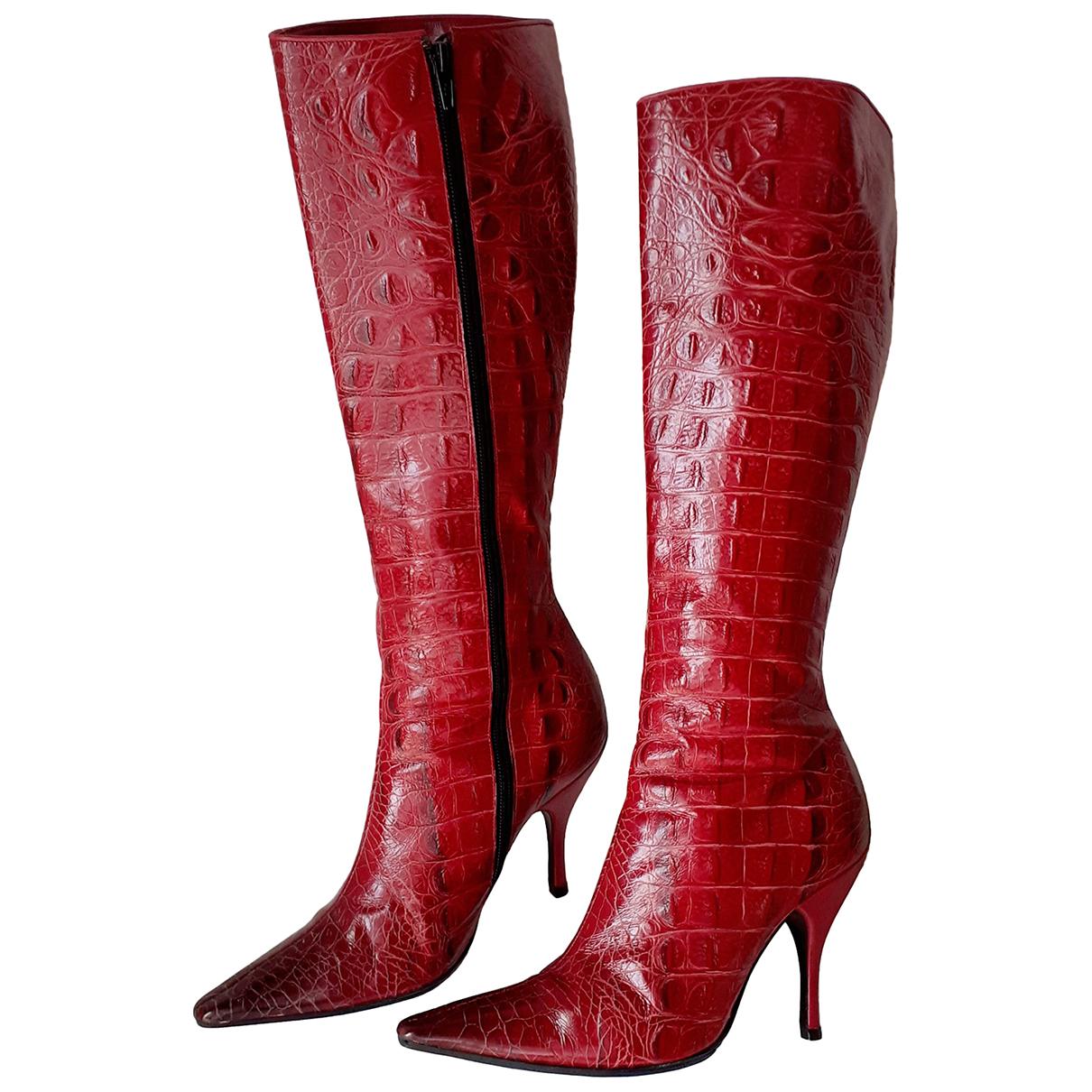 Casadei \N Stiefel in  Rot Krokodil