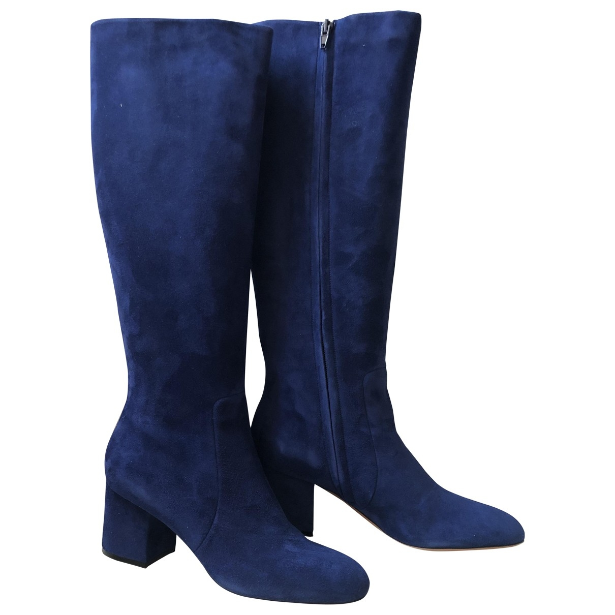 Celine - Bottes   pour femme en suede - bleu