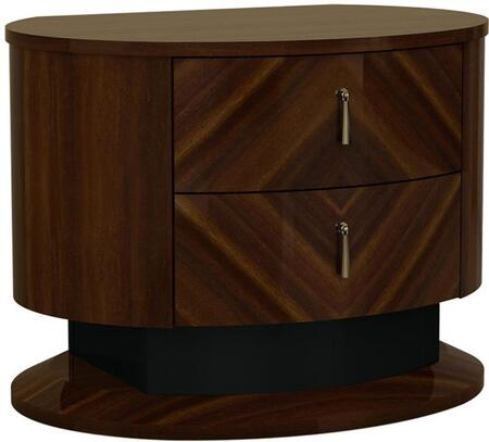 BM194590 Two Drawers Wooden Nightstand with Teardrop Metal Handles  Brown and