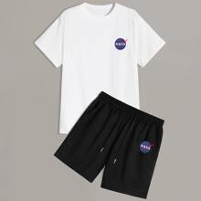 Men Letter Graphic Tee With Drawstring Shorts