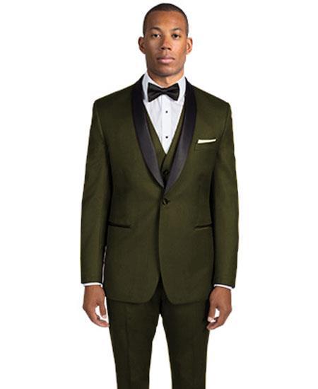 Men's Dark Olive Green 1 Button Shawl Lapel Slim Fit Tuxedo
