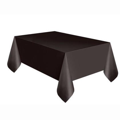 Party Plastic Table Cover Rectangular, Black Solid 54