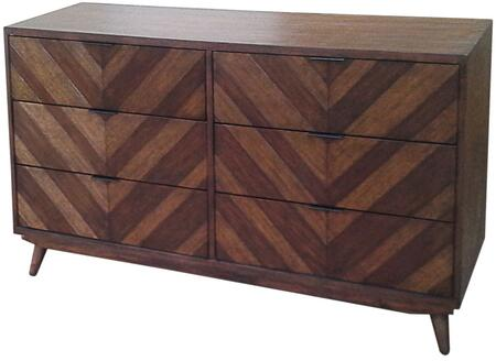 Piero Collection 7800022-JV Chevron Dresser with 6 Drawers  Solid Mahogany Wood and NC Coating Finish in