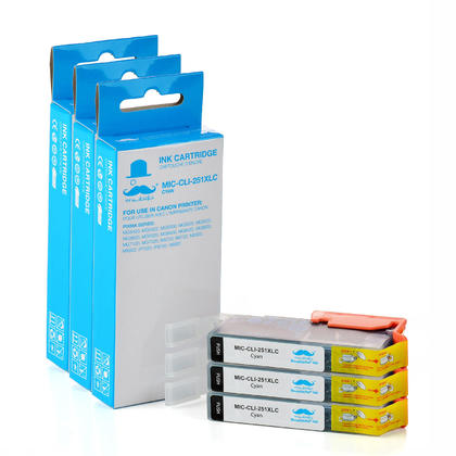 Compatible Canon CLI-251C XL Cyan Ink Cartridge (6449B001) by Moustache, 3 pack - High Yield Version of Canon PGI-251 Cyan Ink Tank