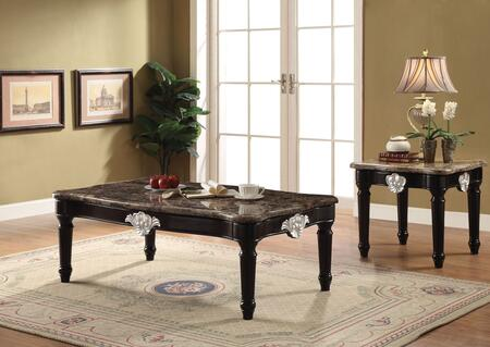 Ernestine Collection 82150SET 2 PC Living Room Table Set with Coffee Table + End Table in Black