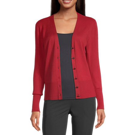 Worthington Womens V Neck Long Sleeve Button Cardigan, Petite Medium , Red