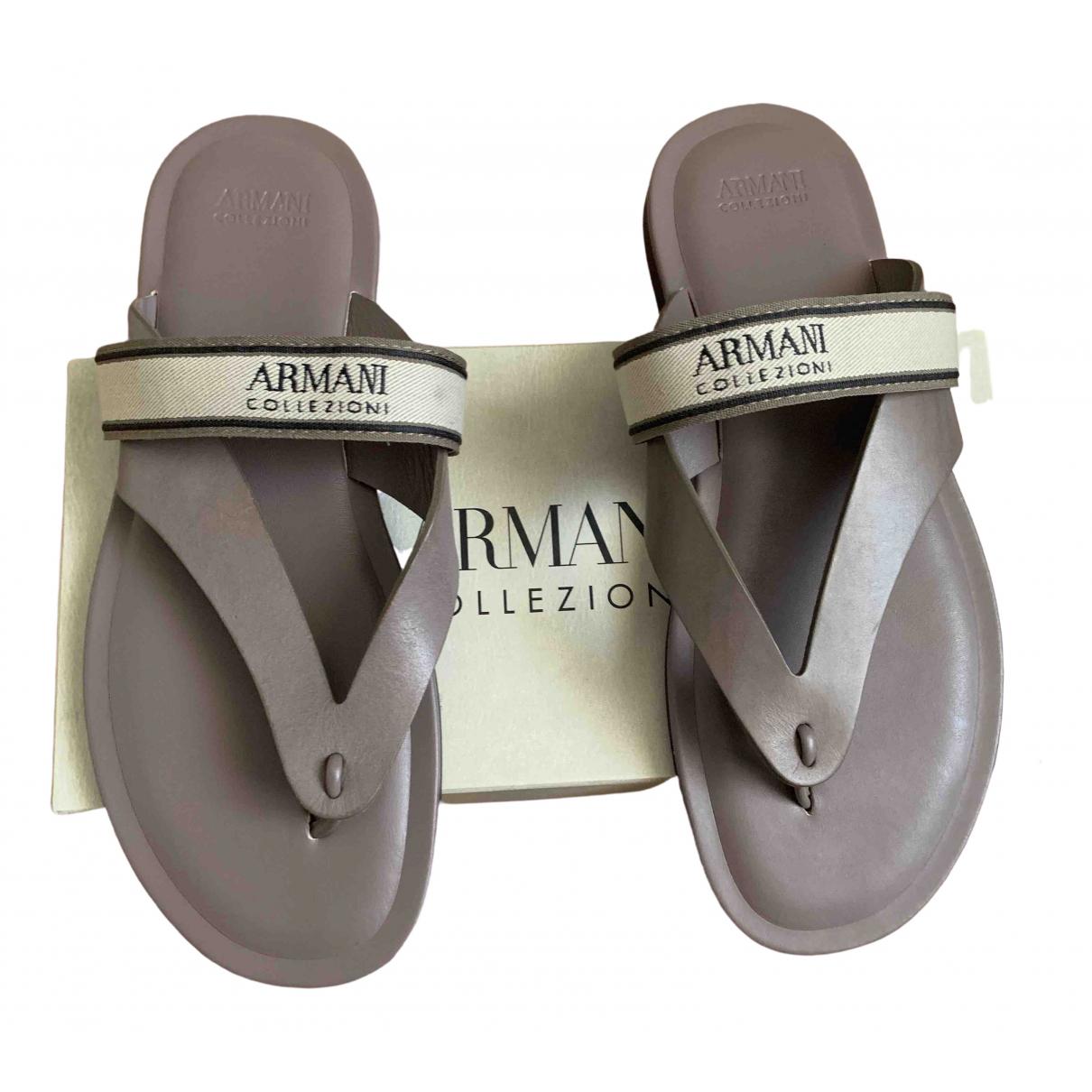 Armani Collezioni \N Beige Leather Flats for Men 43 EU