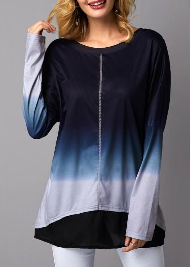 Women'S Blue Long Sleeve Asymmetric Hem Tunic T Shirt Ombre Dip Dye Round Neck Casual Top By Rosewe - XL