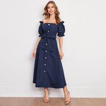 Off Shoulder Button Front Ruffle Trim Self Belted Dress