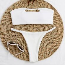 Rib Cut-out Bandeau Thong Bikini Swimsuit