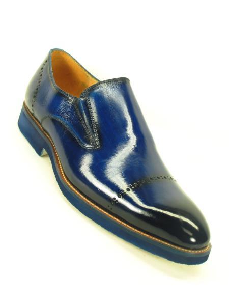 Carrucci Mens Match Bottom Edge Slip Cap Toe Style Cobalt Loafer Shoe