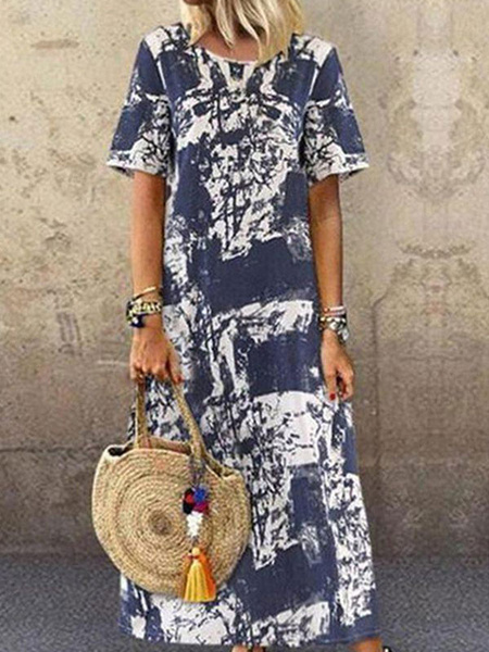 Milanoo Shift Dresses Short Sleeves Printed Casual Jewel Neck Deep Blue Tunic Dress