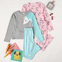 Girls 2 Pack Unicorn Print Top & Pants PJ Set