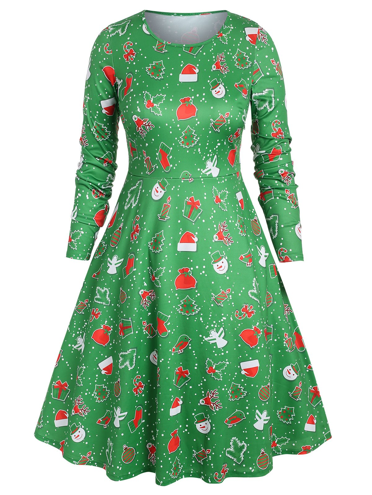 Plus Size Christmas Printed Midi A Line Dress