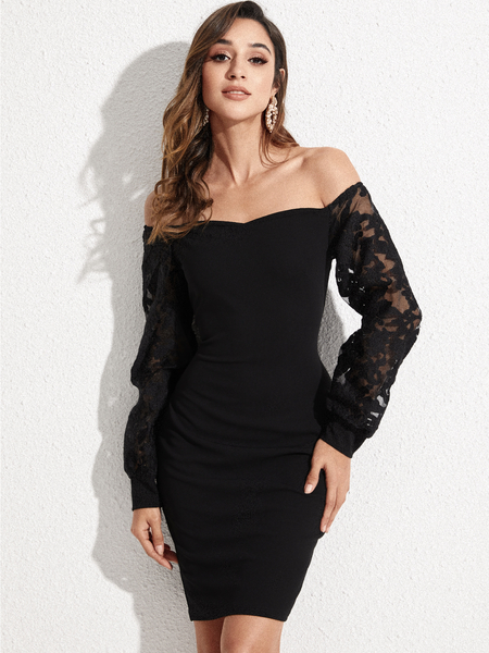 YOINS Black Lace Mesh Off-the-Shoulder Lantern Sleeves Dress