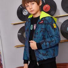 Jacke mit Buchstaben Stickereien, Reissverschluss vorn und Kapuze