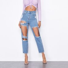 Light Wash Ripped Detail Jeans