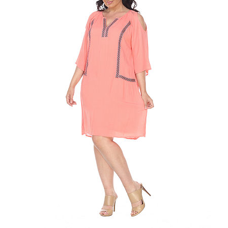 White Mark-Plus 3/4 Sleeve Embroidered Shift Dress, 2x , Orange