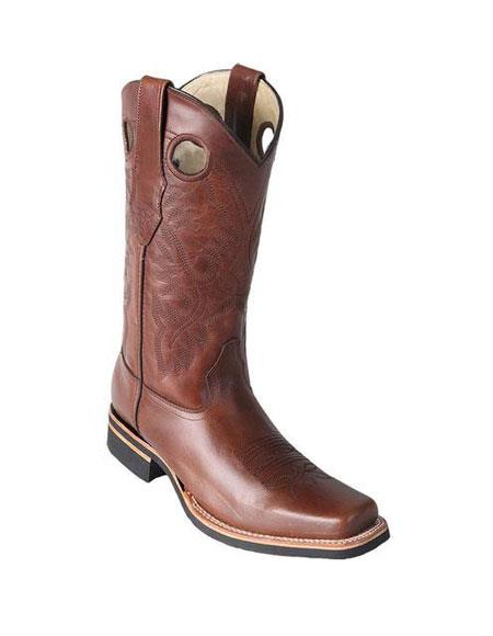 Men's Los Altos Square Toe Boots Brown Saddle Rubber Sole Handmade