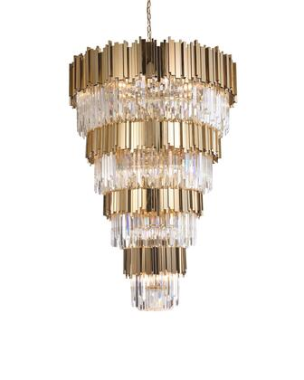MU66 33-Light Chandelier with Crystal and Stainless Steel Materials and 40 Watts in Gold