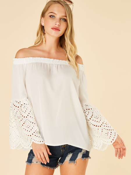 Yoins White Hollow Design Off The Shoulder Bell Sleeves Tee