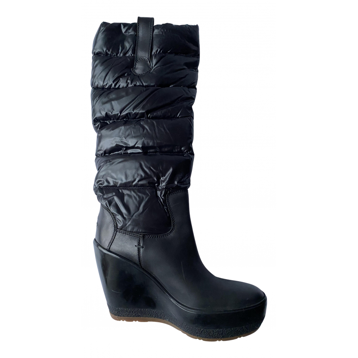 Moncler N Black Leather Boots for Women 39 IT