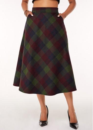 A Line Plaid Print Side Pocket Skirt - M