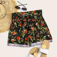 Plus Floral Print Rolled Hem Denim Shorts With Belt
