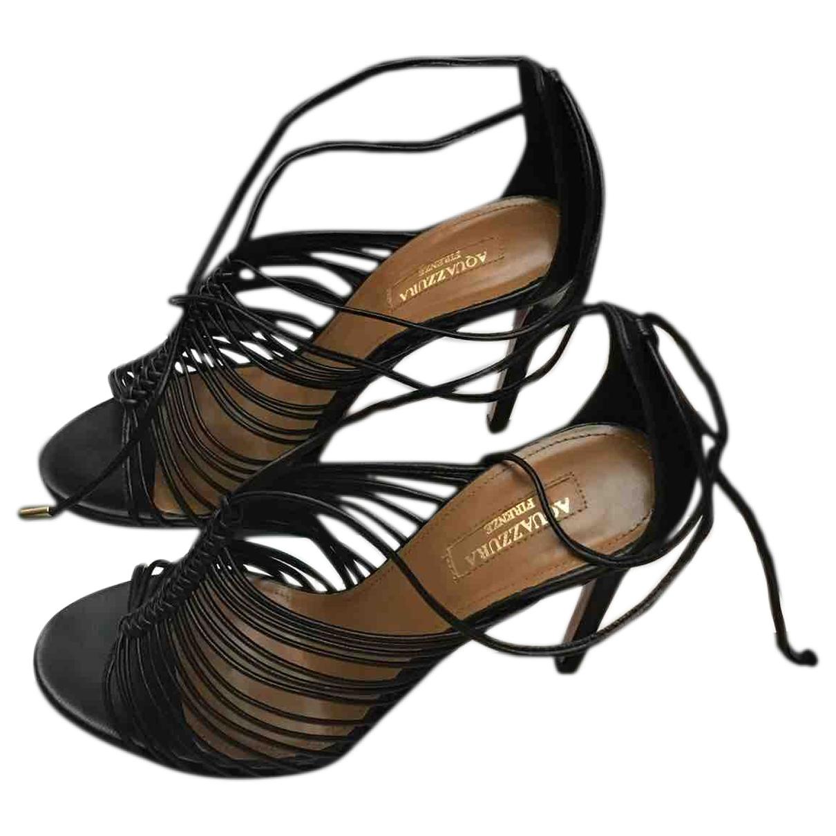 Aquazzura \N Black Leather Sandals for Women 36.5 EU