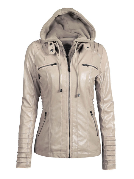 Milanoo Women Winter Jackets Brown Hooded Drawstring Long Sleeve PU Leather Jackets