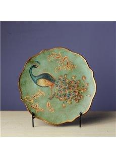 Green Ceramic Beautiful Peacock Pattern Desktop Plate Painted Pottery