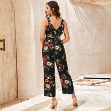 Tie Back Floral Print Jumpsuit