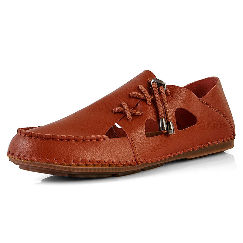 Cowhide Hollow Out Breathable Lightweight Casual Soft Flats