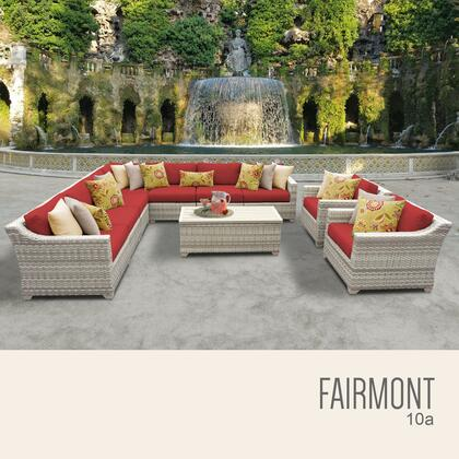 FAIRMONT-10a-TERRACOTTA Fairmont 10 Piece Outdoor Wicker Patio Furniture Set 10a with 2 Covers: Beige and