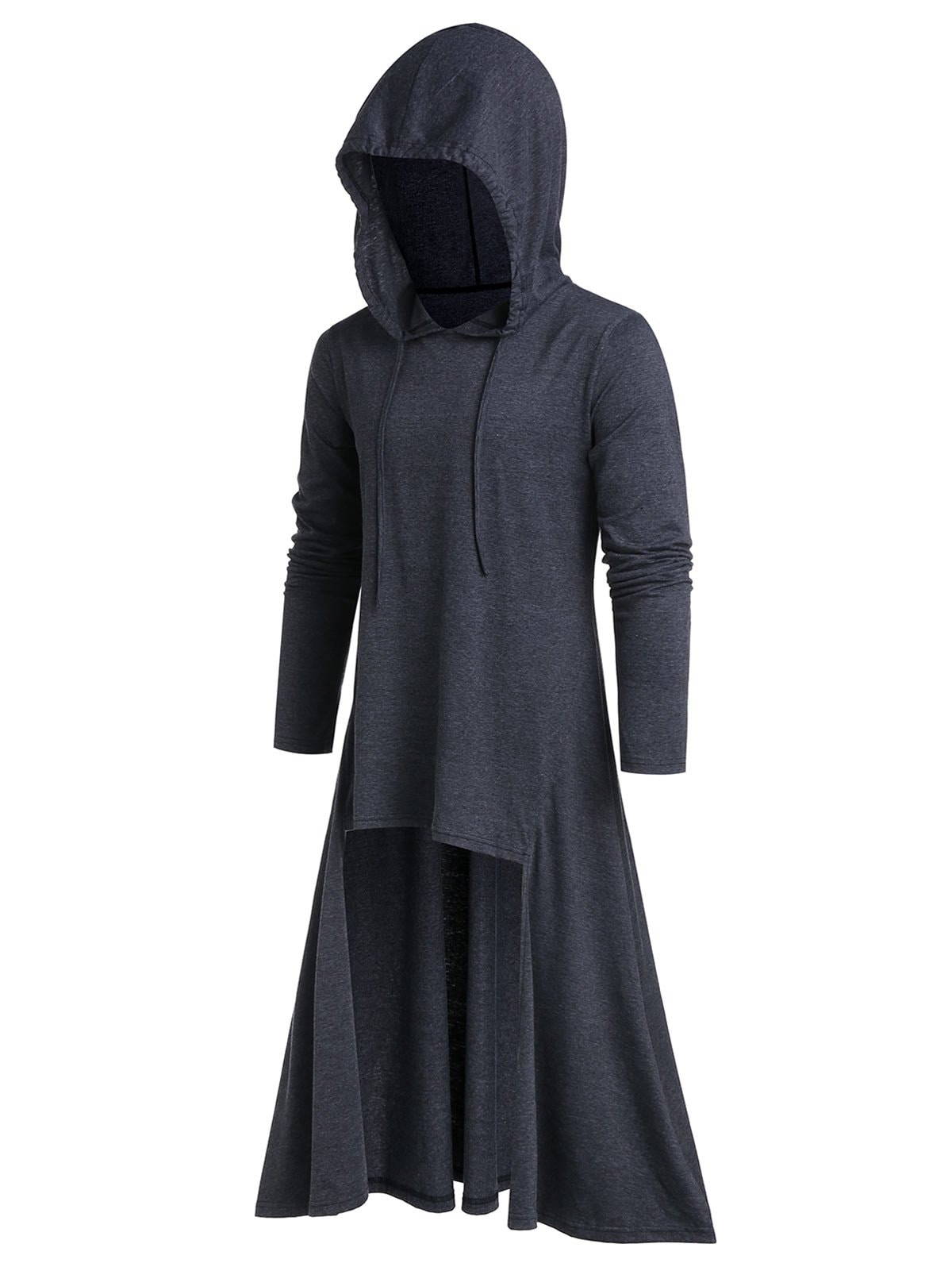 Drawstring Heathered High Low Pullover Hoodie
