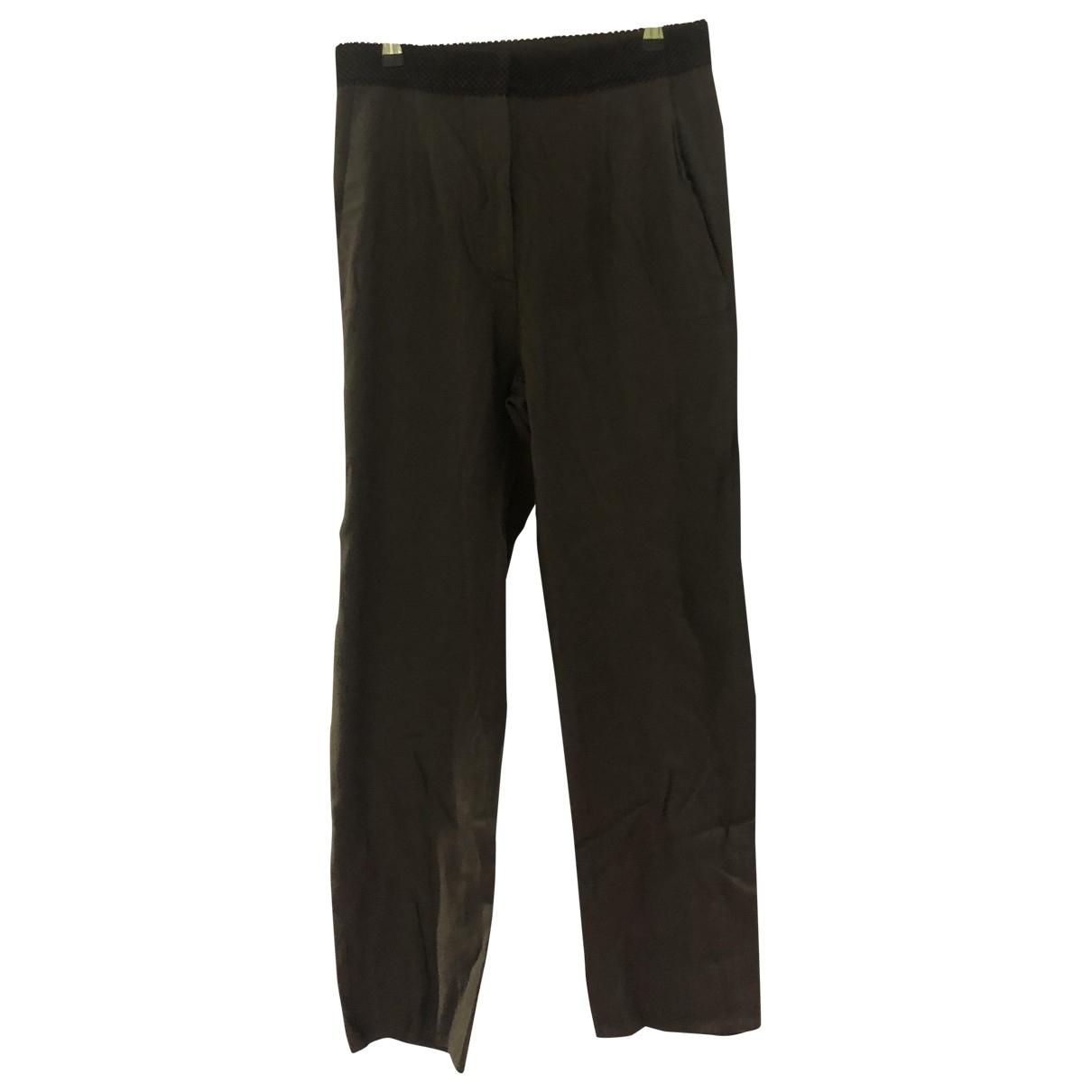 Mm6 \N Khaki Cloth Trousers for Women 42 IT
