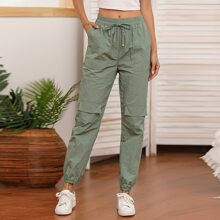 Solid Pocket Patched Knot Front Pants