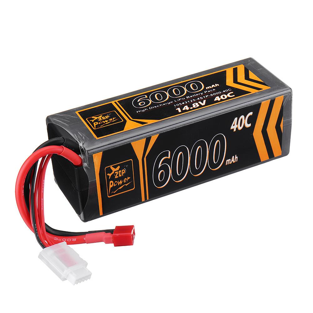 ZOP Power 14.8V 6000mAh 40C 4S Lipo Battery T Plug for RC Car RC Airplane