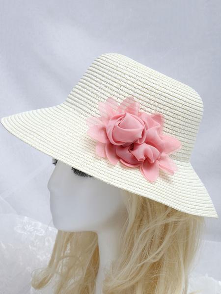 Milanoo Sombrero de novia Sombreros de novia de verano de playa de flores de rosa de paja