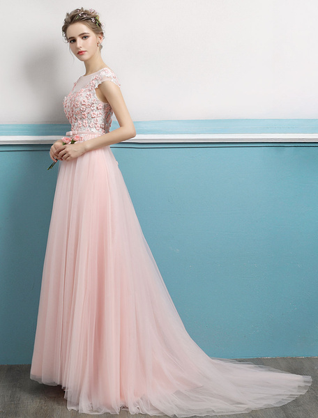 Milanoo Prom Dresses Soft Pink Long Flowers Beaded Open Back Bow Sash Sleeveless Tulle Formal Party Dresses With Train