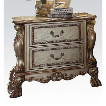 BM185906 Wooden Nightstand with Two Drawers  Gold & Bone