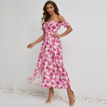 Button Front Shirred Floral Dress