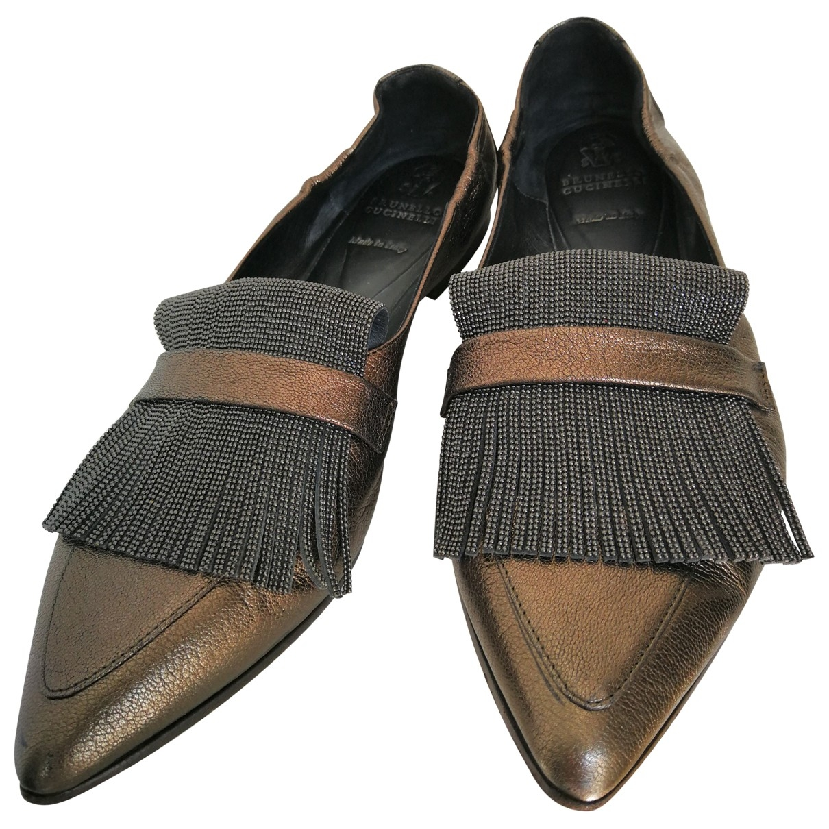 Brunello Cucinelli \N Metallic Leather Ballet flats for Women 37.5 EU